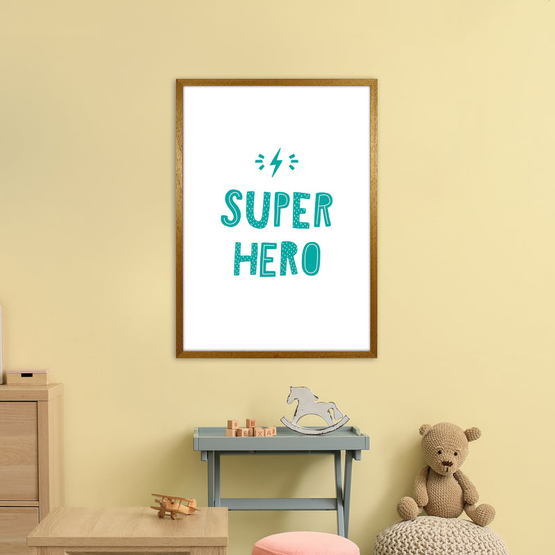 Super Hero Teal Super Scandi  Art Print by Pixy Paper A1 Print Only