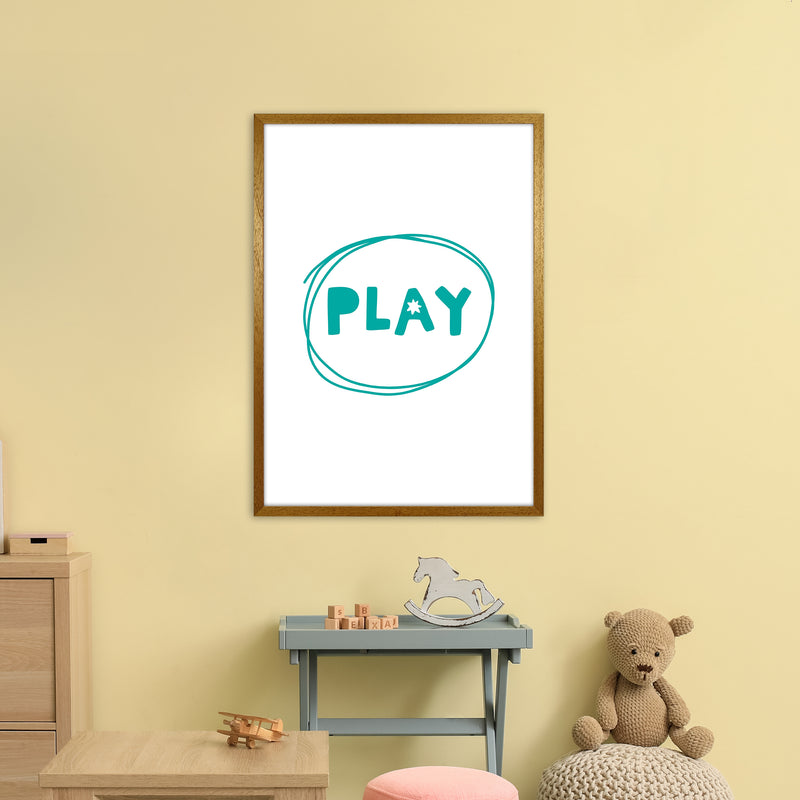 Play Teal Super Scandi  Art Print by Pixy Paper A1 Print Only