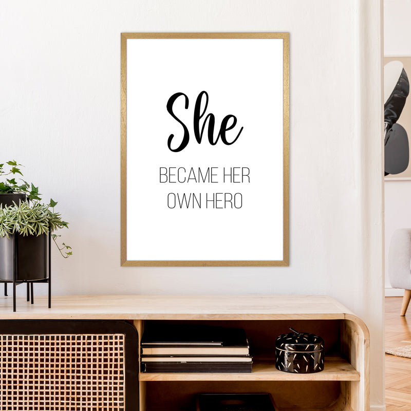 She Became Her Own Hero  Art Print by Pixy Paper A1 Print Only