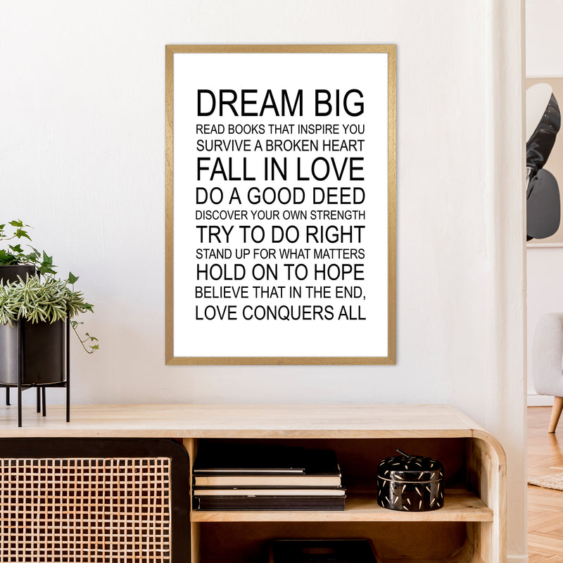 Dream Big Inspirational  Art Print by Pixy Paper A1 Print Only