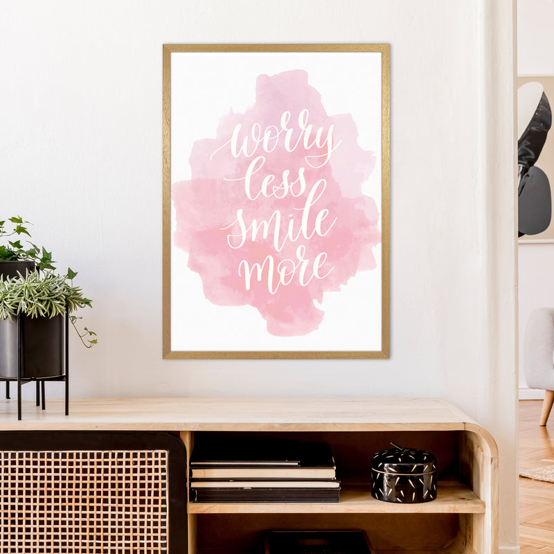 Worry Less Smile More  Art Print by Pixy Paper A1 Print Only