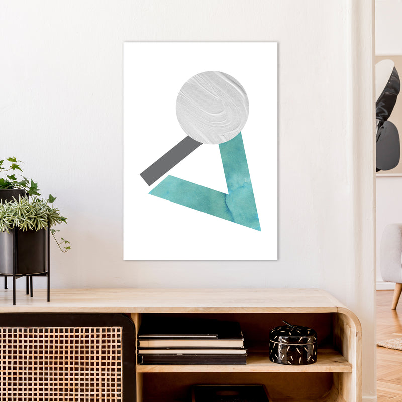 Marble Teal And Silver 3 Art Print by Pixy Paper A1 Black Frame