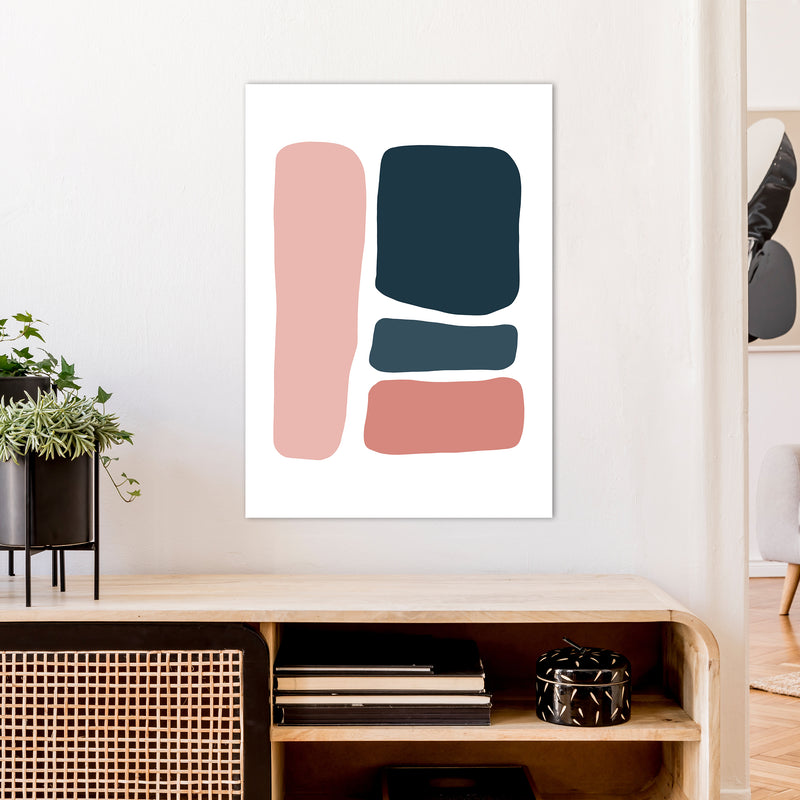 Pink And Navy Abstract Stones 3 Art Print by Pixy Paper A1 Black Frame