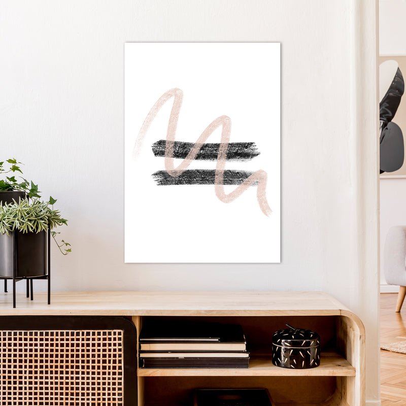 Dalia Chalk Pink And Black Line Contrast  Art Print by Pixy Paper A1 Black Frame
