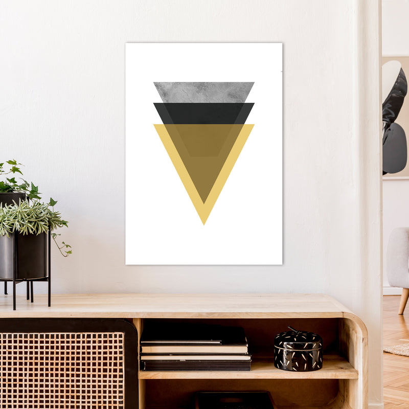 Geometric Mustard And Black Triangles  Art Print by Pixy Paper A1 Black Frame