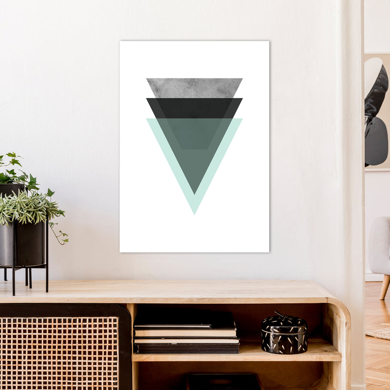 Geometric Mint And Black Triangles  Art Print by Pixy Paper A1 Black Frame
