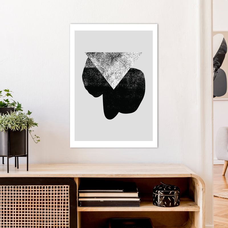 Graffiti Black And Grey Triangle  Art Print by Pixy Paper A1 Black Frame