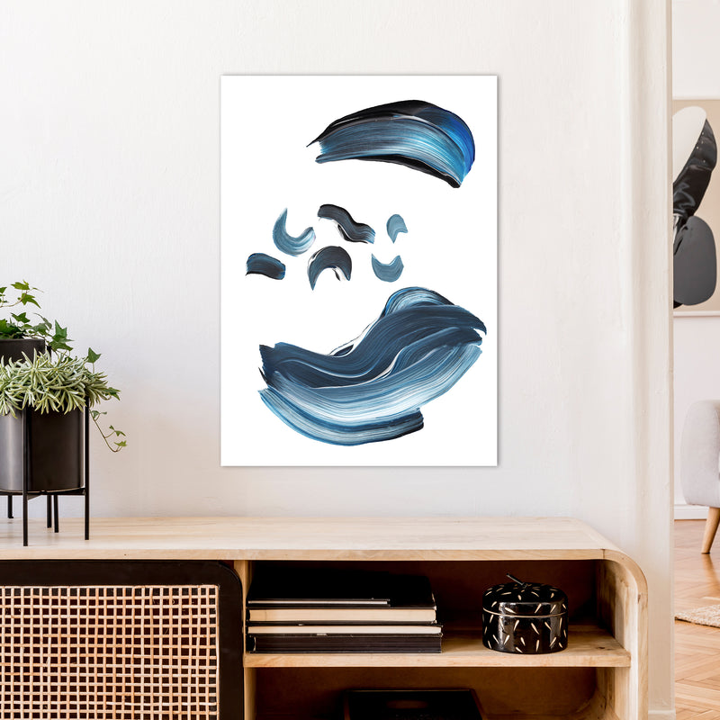 Dark Blue And Grey Paint Strokes  Art Print by Pixy Paper A1 Black Frame