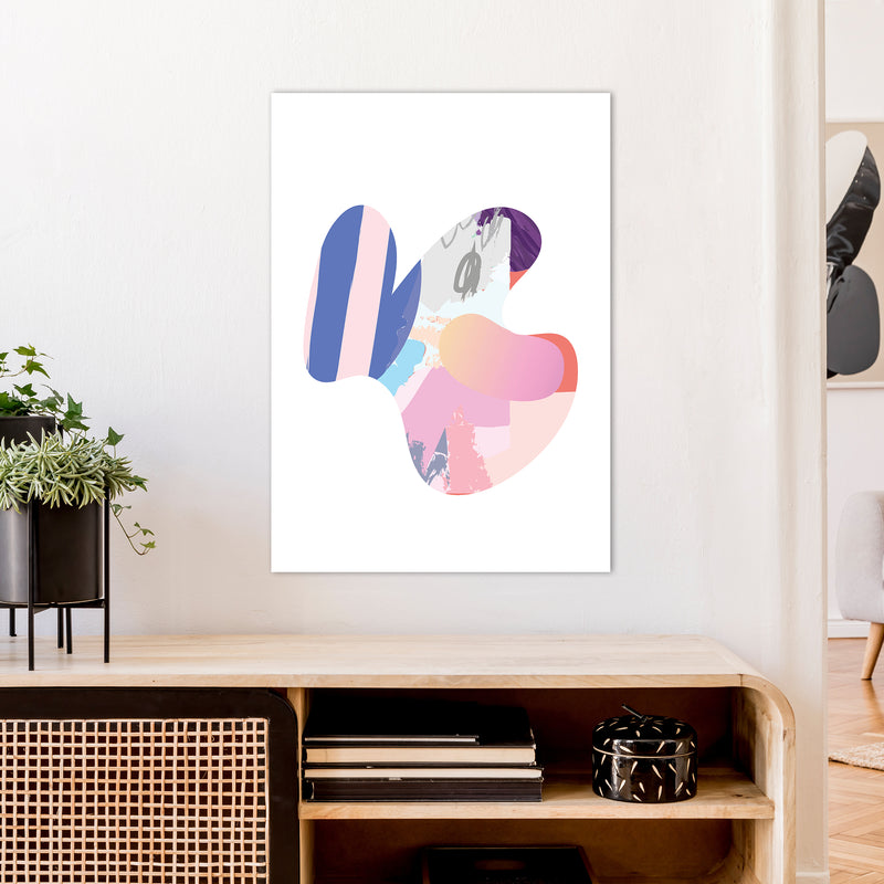 Pink Butterfly Abstract Shape  Art Print by Pixy Paper A1 Black Frame
