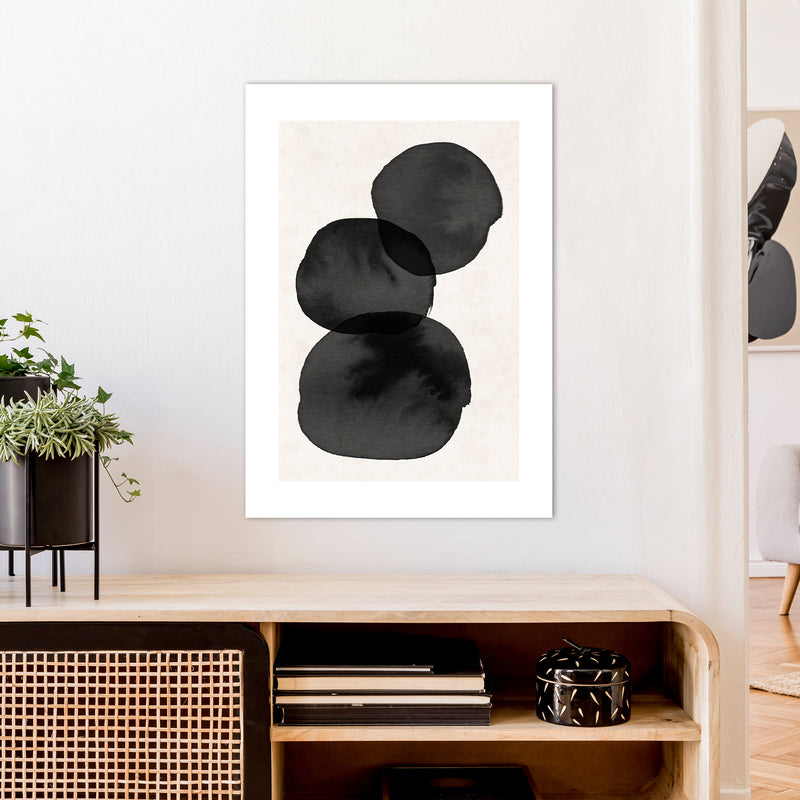 Nude And Pearl Stacked Stones  Art Print by Pixy Paper A1 Black Frame