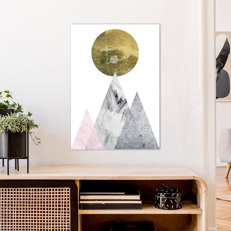 Luna Gold Moon And Mountains  Art Print by Pixy Paper A1 Black Frame