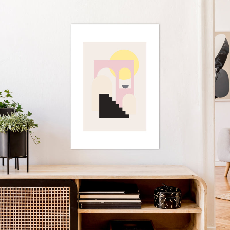 Mila Pink Stairs To Sun N6  Art Print by Pixy Paper A1 Black Frame