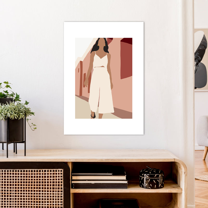 Mica Girl In Street N7  Art Print by Pixy Paper A1 Black Frame