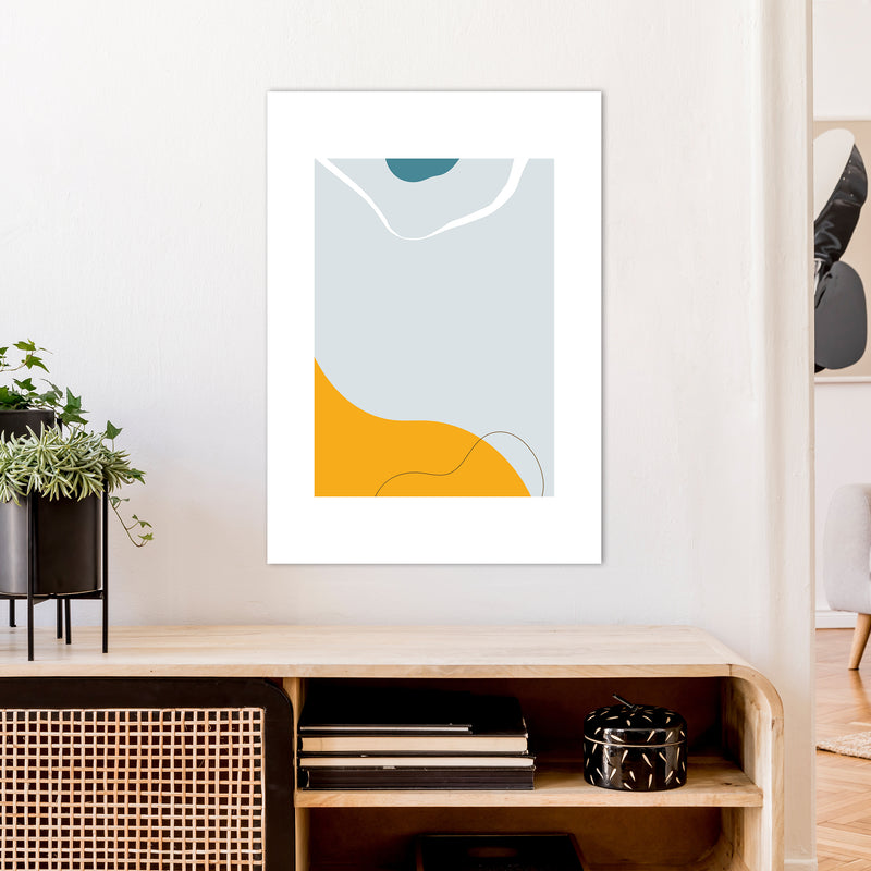 Mita Teal Abstract N21  Art Print by Pixy Paper A1 Black Frame