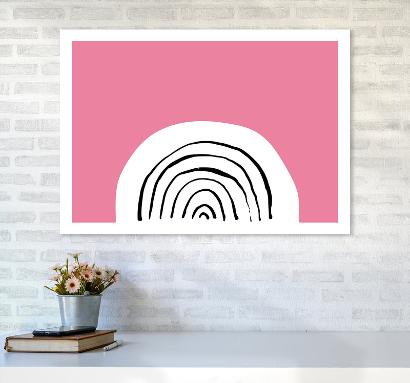 Pink Rainbow Neon Funk  Art Print by Pixy Paper A1 Black Frame