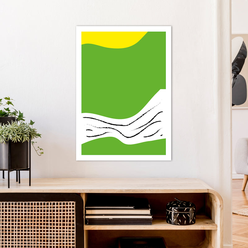 Green Lines Neon Funk  Art Print by Pixy Paper A1 Black Frame