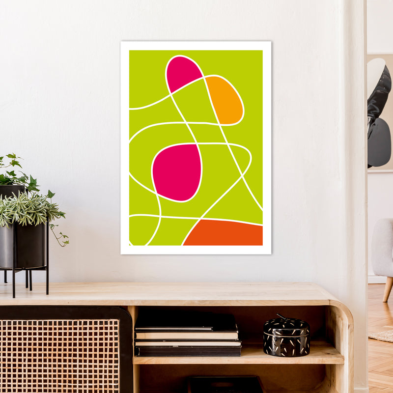Lime Mess Neon Funk  Art Print by Pixy Paper A1 Black Frame