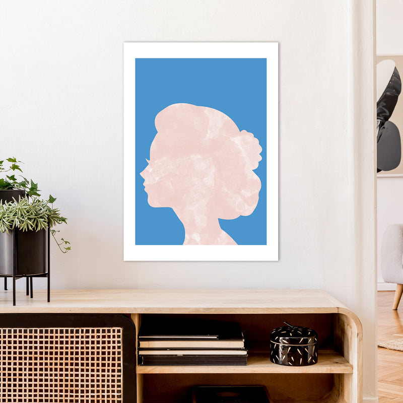 Marble Head Blue  Art Print by Pixy Paper A1 Black Frame