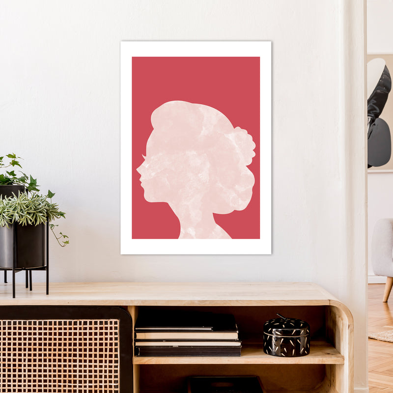 Marble Head Red  Art Print by Pixy Paper A1 Black Frame