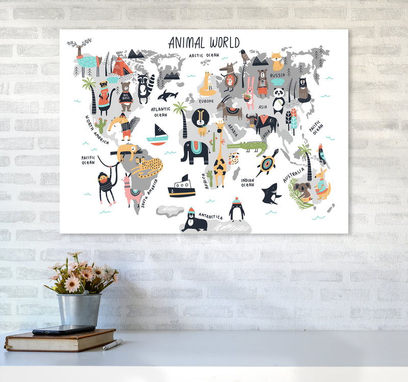 Animal World Map  Art Print by Pixy Paper A1 Black Frame