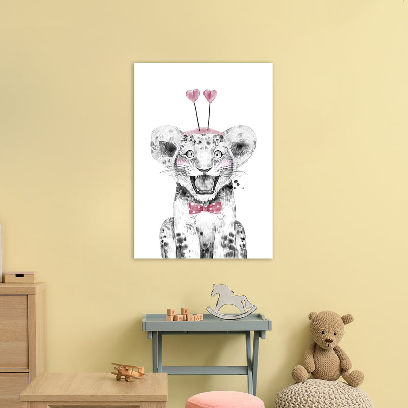 Safari Babies Tiger With Heart Hat  Art Print by Pixy Paper A1 Black Frame