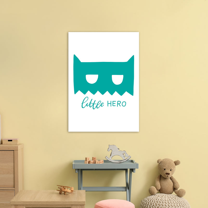 Little Hero Mask Teal Super Scandi  Art Print by Pixy Paper A1 Black Frame