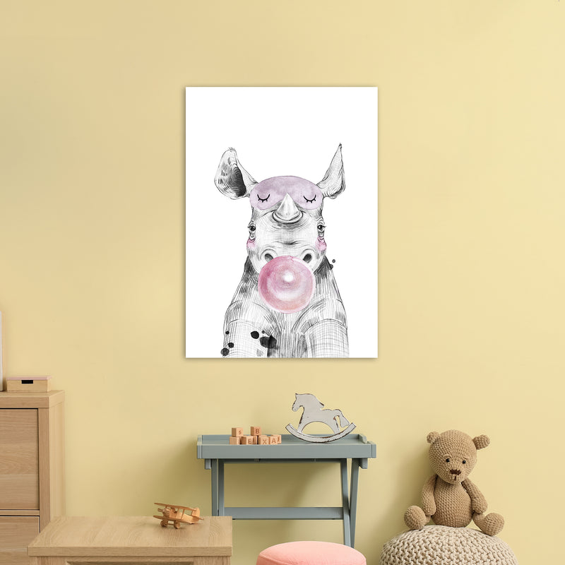 Safari Babies Rhino With Bubble  Art Print by Pixy Paper A1 Black Frame