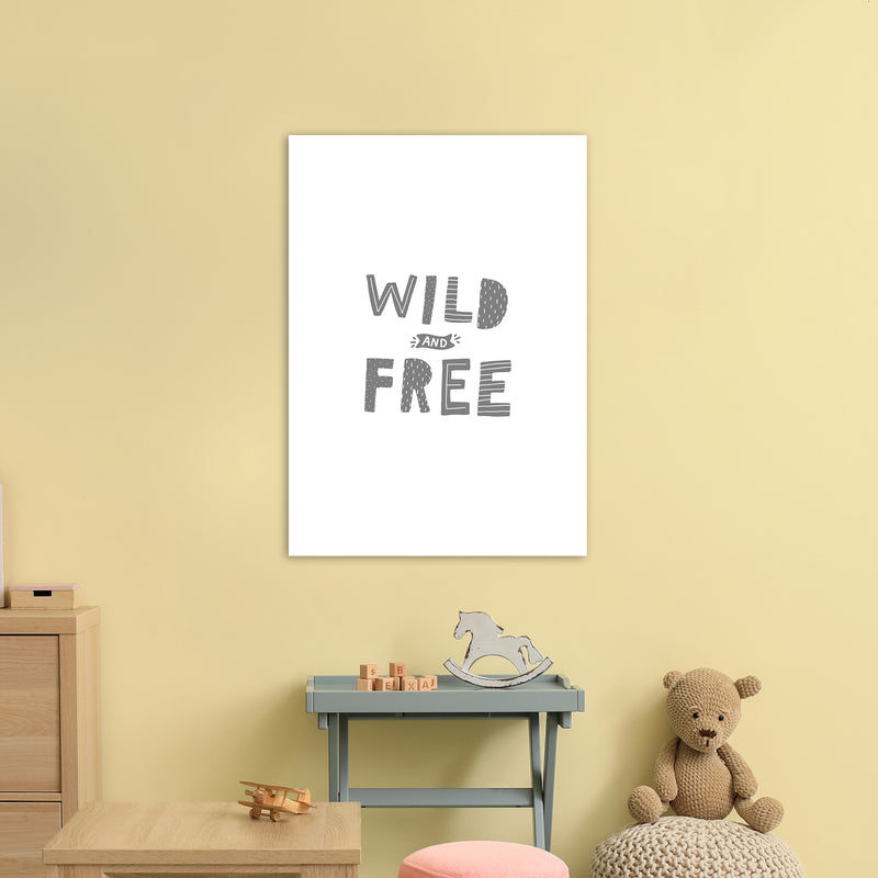 Wild And Free Grey Super Scandi  Art Print by Pixy Paper A1 Black Frame