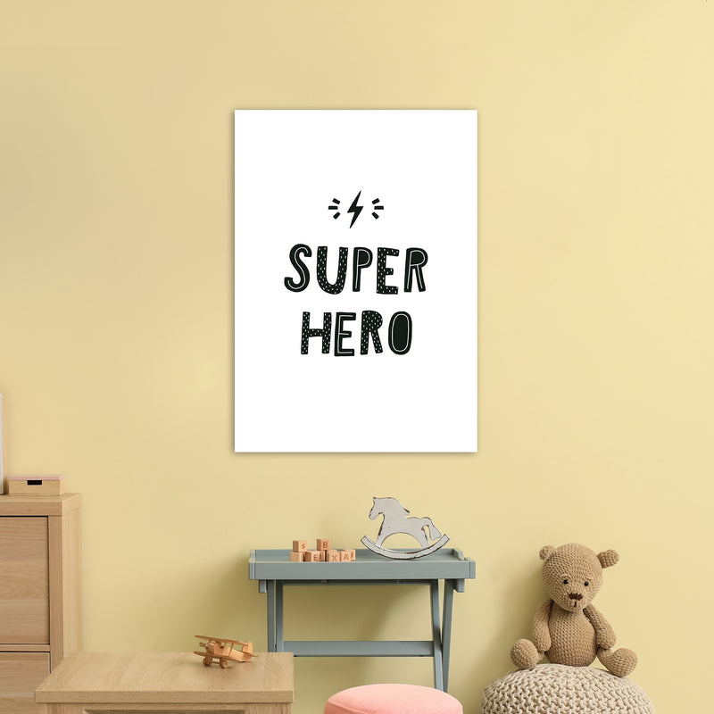Super Hero Black Super Scandi  Art Print by Pixy Paper A1 Black Frame