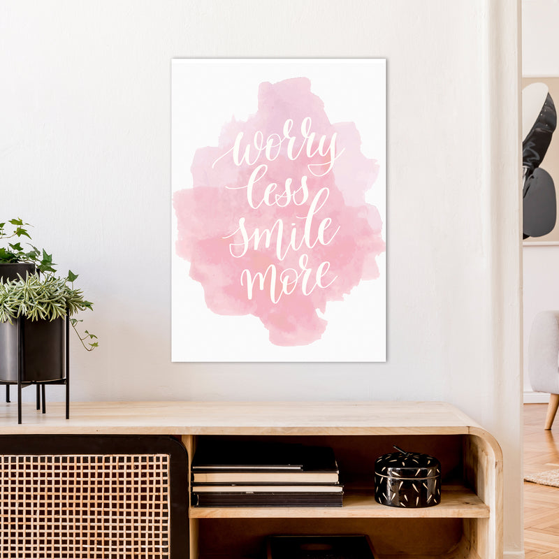 Worry Less Smile More  Art Print by Pixy Paper A1 Black Frame
