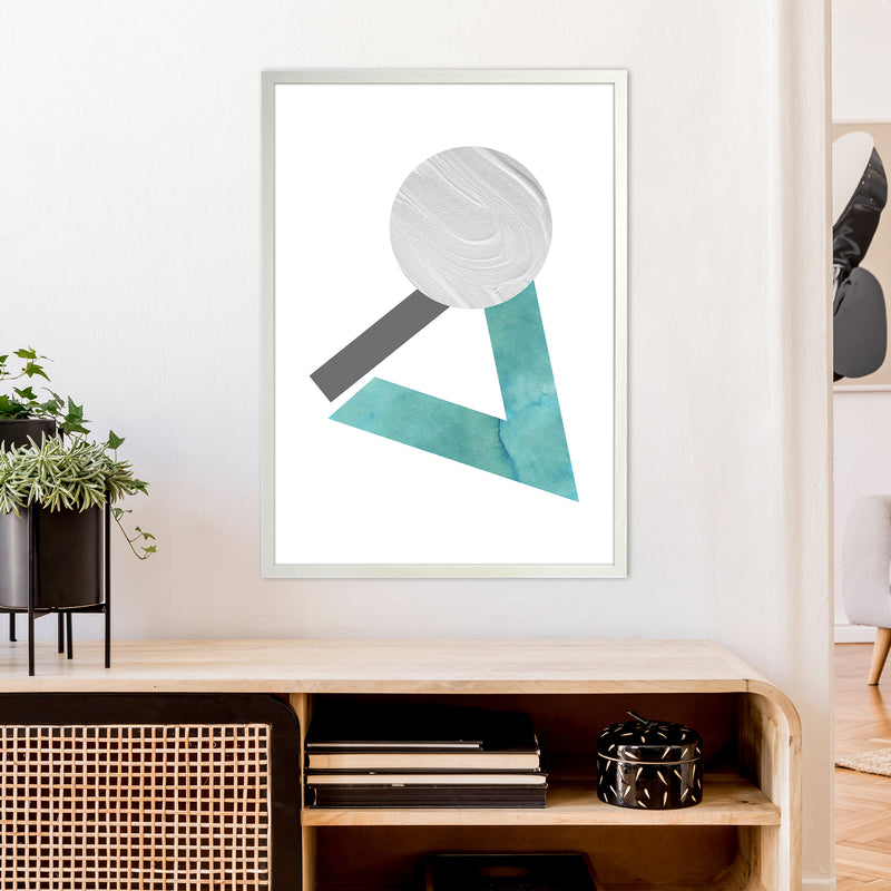 Marble Teal And Silver 3 Art Print by Pixy Paper A1 Oak Frame