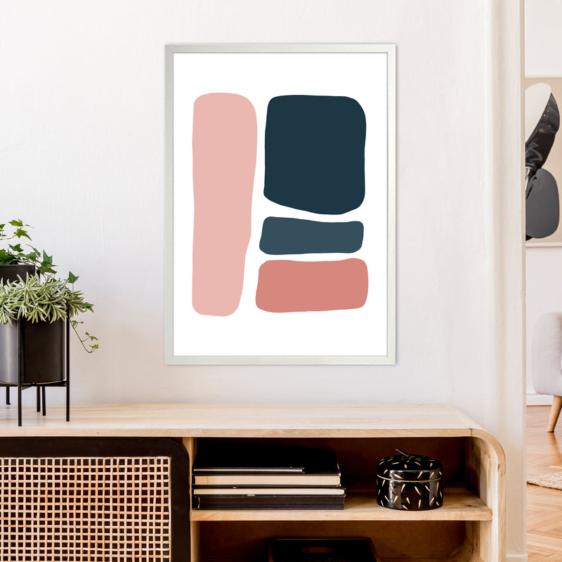 Pink And Navy Abstract Stones 3 Art Print by Pixy Paper A1 Oak Frame