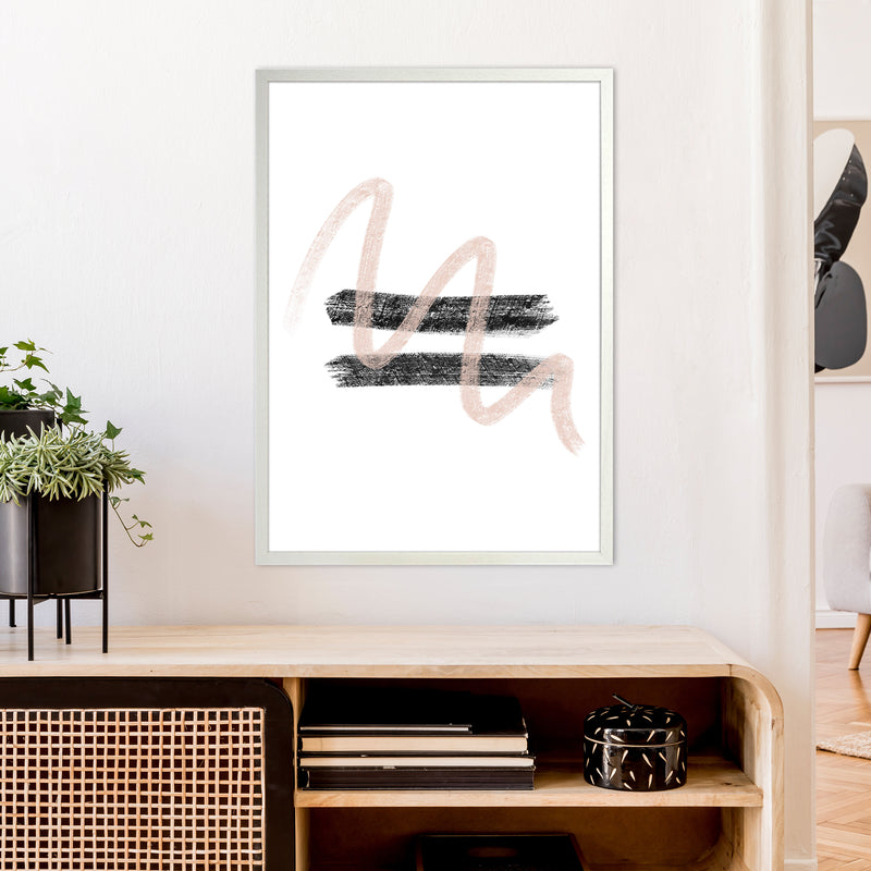 Dalia Chalk Pink And Black Line Contrast  Art Print by Pixy Paper A1 Oak Frame