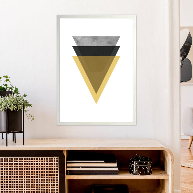 Geometric Mustard And Black Triangles  Art Print by Pixy Paper A1 Oak Frame