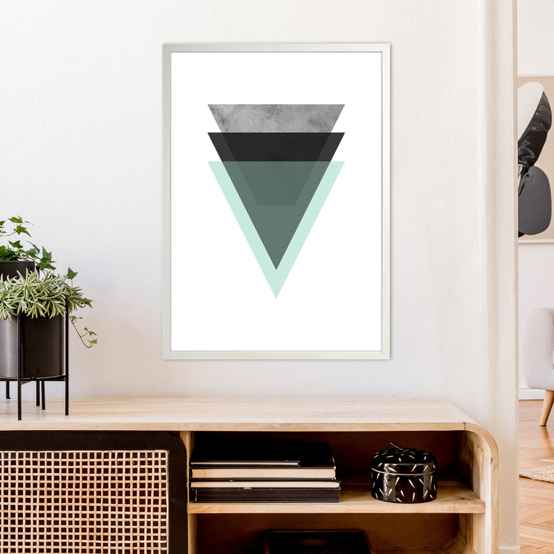 Geometric Mint And Black Triangles  Art Print by Pixy Paper A1 Oak Frame