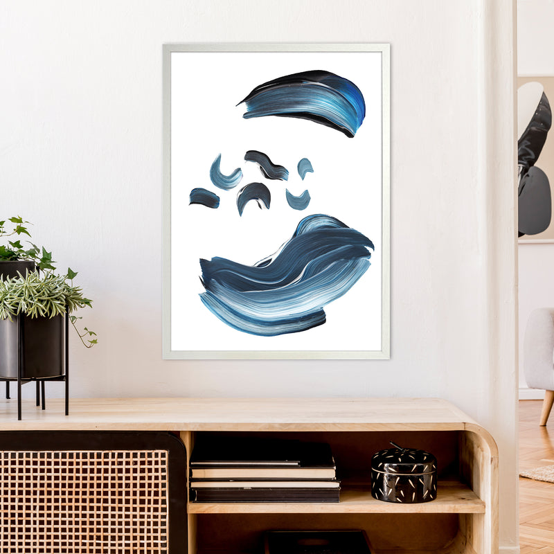 Dark Blue And Grey Paint Strokes  Art Print by Pixy Paper A1 Oak Frame