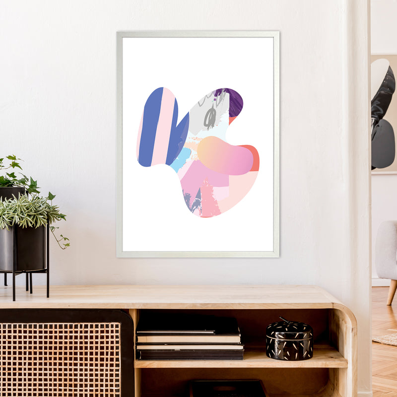 Pink Butterfly Abstract Shape  Art Print by Pixy Paper A1 Oak Frame