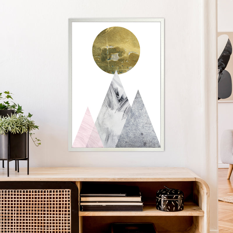 Luna Gold Moon And Mountains  Art Print by Pixy Paper A1 Oak Frame