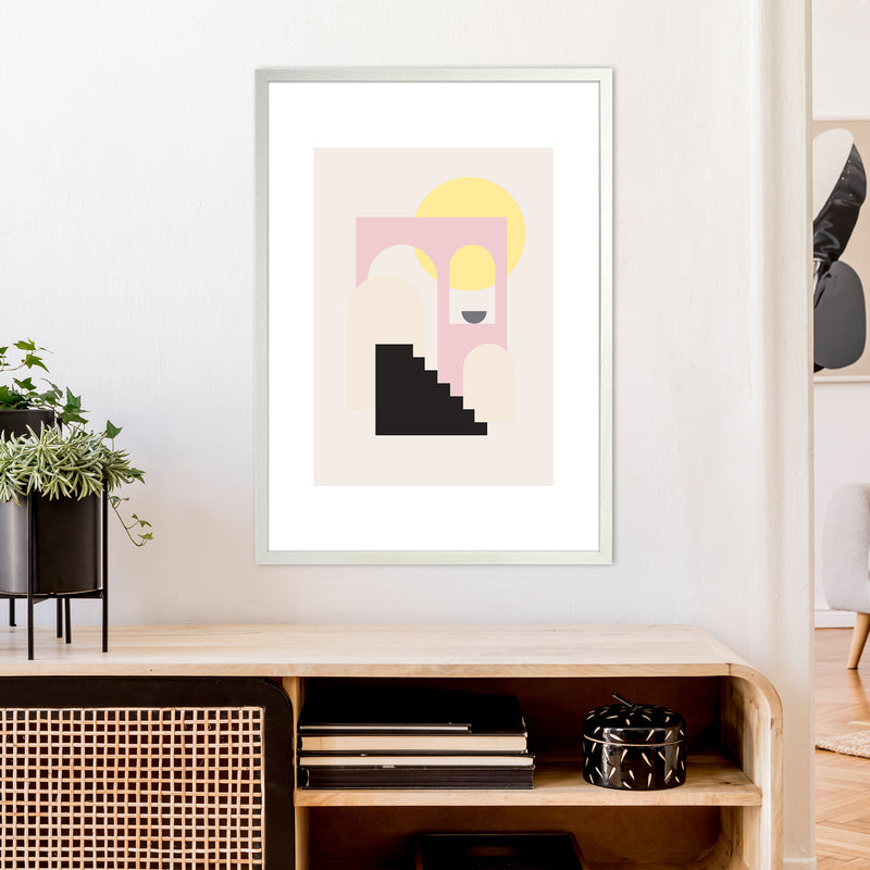 Mila Pink Stairs To Sun N6  Art Print by Pixy Paper A1 Oak Frame
