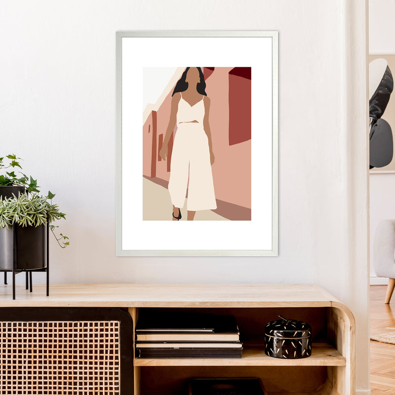 Mica Girl In Street N7  Art Print by Pixy Paper A1 Oak Frame