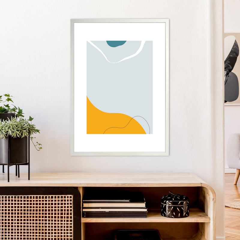 Mita Teal Abstract N21  Art Print by Pixy Paper A1 Oak Frame