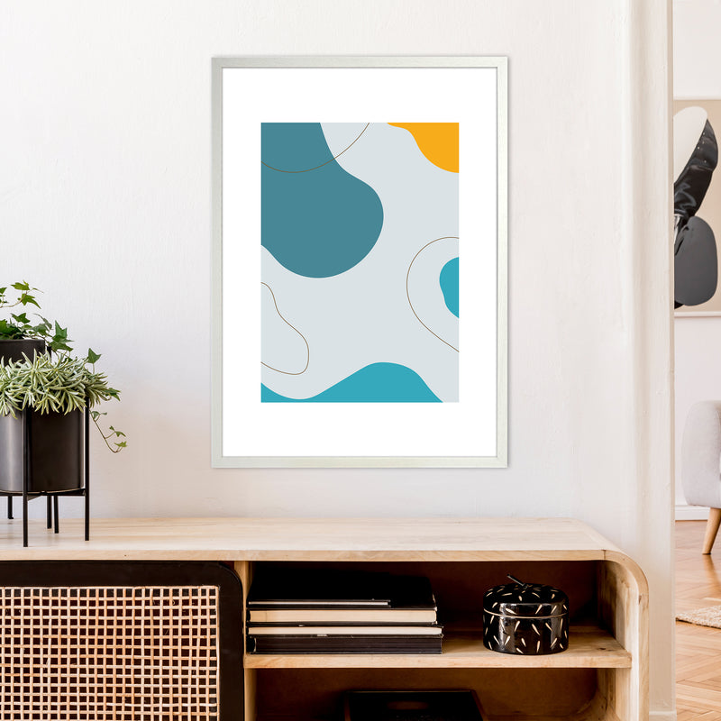 Mita Teal Abstract N16  Art Print by Pixy Paper A1 Oak Frame