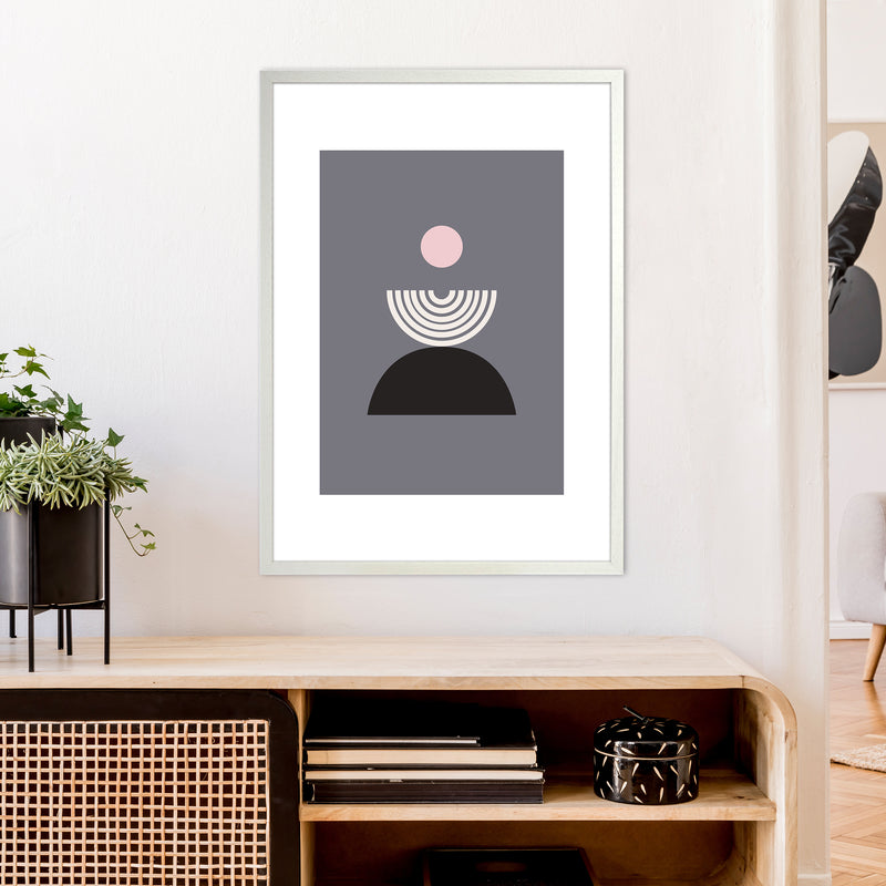 Mila Pink Fountain N9  Art Print by Pixy Paper A1 Oak Frame