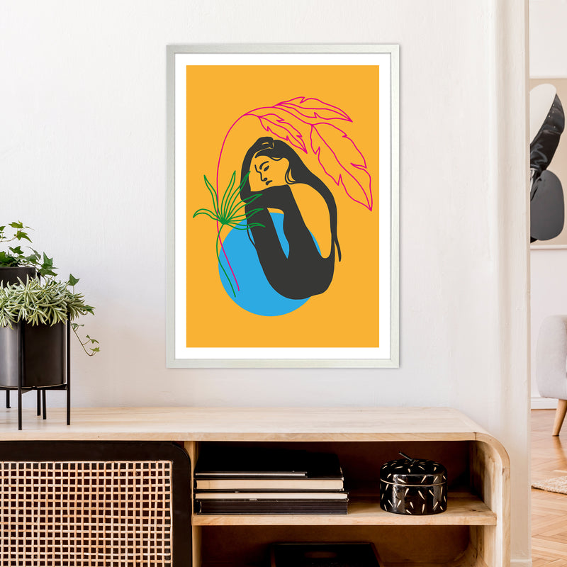 Girl Under Plant Yellow Neon Funk  Art Print by Pixy Paper A1 Oak Frame