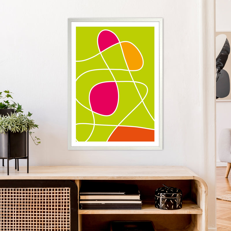 Lime Mess Neon Funk  Art Print by Pixy Paper A1 Oak Frame