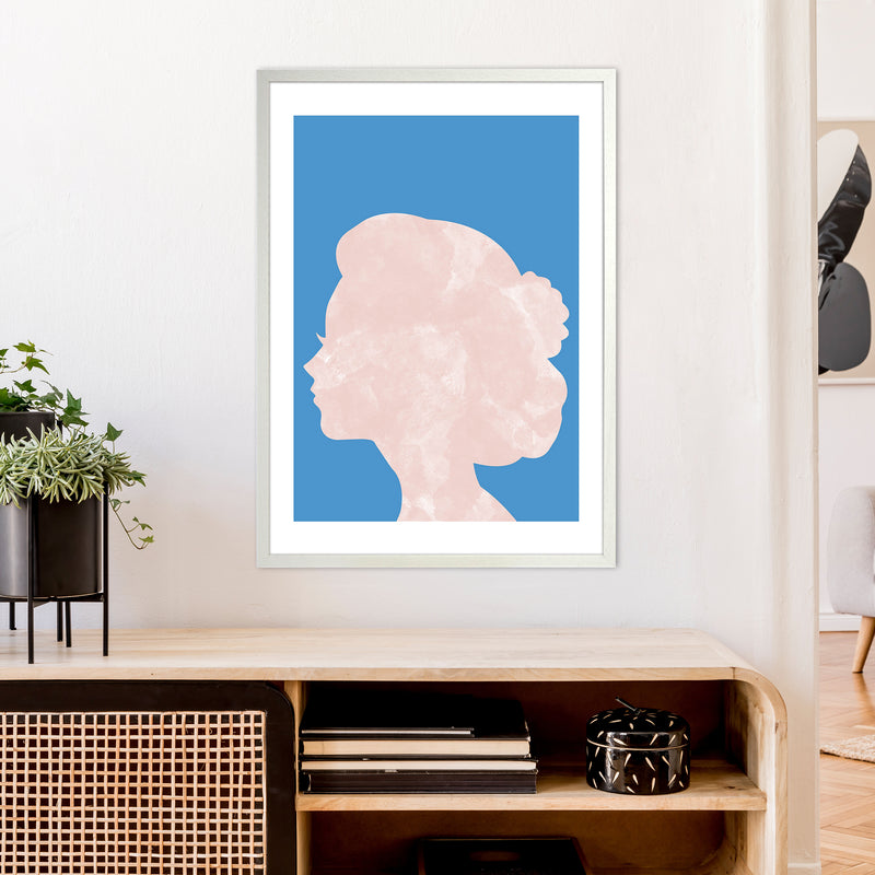 Marble Head Blue  Art Print by Pixy Paper A1 Oak Frame