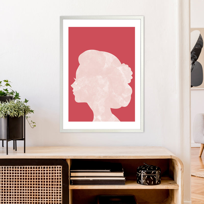Marble Head Red  Art Print by Pixy Paper A1 Oak Frame