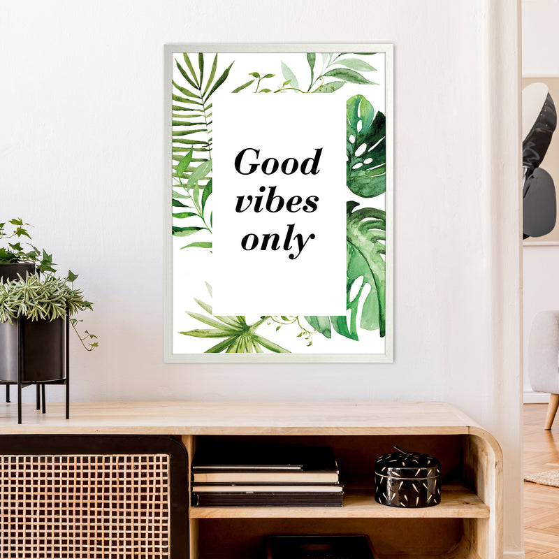 Good Vibes Only Exotic  Art Print by Pixy Paper A1 Oak Frame