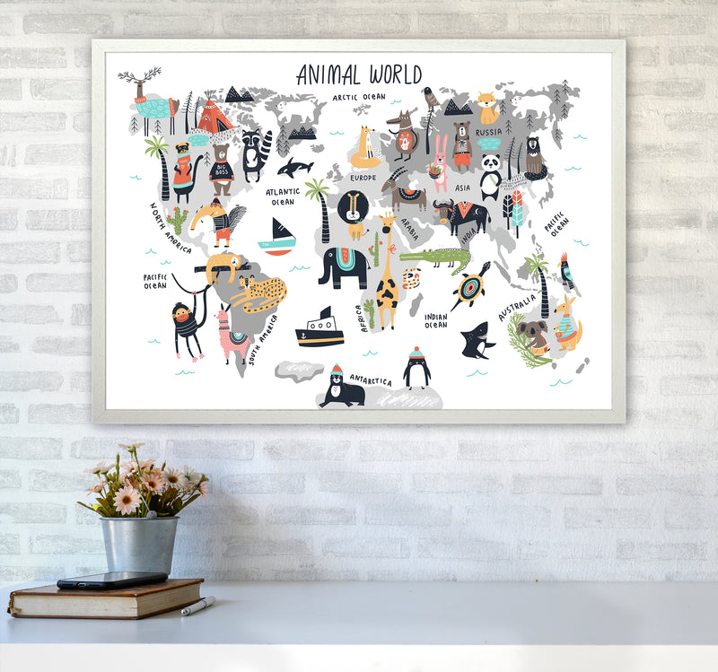 Animal World Map  Art Print by Pixy Paper A1 Oak Frame
