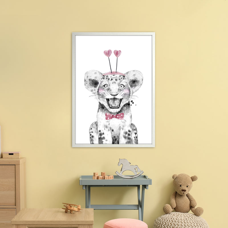 Safari Babies Tiger With Heart Hat  Art Print by Pixy Paper A1 Oak Frame